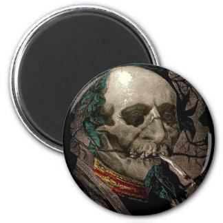 Weird Skull Zombie Stoner Man Smoking Pot Joint Magnet