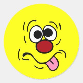 Weird Smiley Face Grumpey Classic Round Sticker