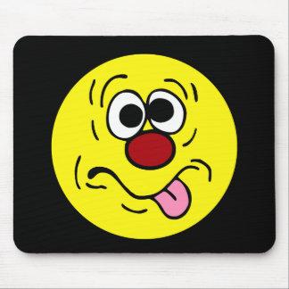 Weird Smiley Face Grumpey Mouse Pad