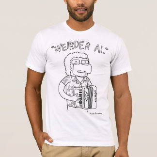 """Weirder Al"" in black and white T-Shirt"