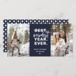 "Weirdest Year Ever 2020 Humor Blue Holiday Card<br><div class=""desc"">Weirdest Year Ever,  2020 holiday humor,  navy blue 2-photo card. Card features,  hand drawn white bauble string pattern backing and three template text lines for your greeting,  name and year.</div>"