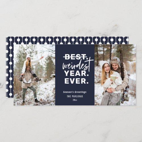 Weirdest Year Ever 2020 Humor Blue Holiday Card