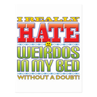 Weirdos Bed Hate Face Postcard