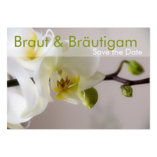 weisse orchidee save the date mini karten business card. Black Bedroom Furniture Sets. Home Design Ideas