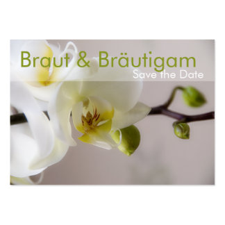 Weisse Orchidee • Save the Date Mini Karten Large Business Card