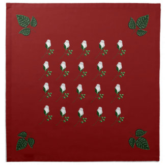 weiße Rosen auf rot Cloth Napkin