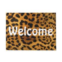 """Welcome 18"""" x 24"""" Door Mat/Cheetah Print Doormat"""