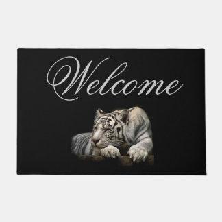 """Welcome 18"""" x 24"""" Door Mat/White Tiger Doormat"""