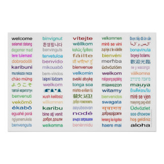 Welcome 80 Languages Poster - 5 sizes/White