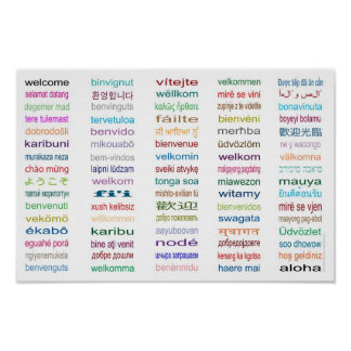 Welcome 80 Languages Poster - White