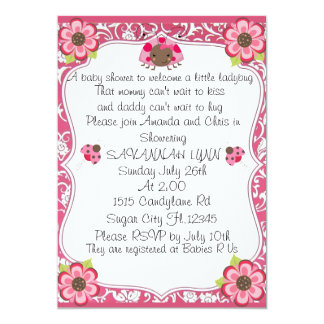 Welcome A Little Lady Bug Baby Shower Invitation