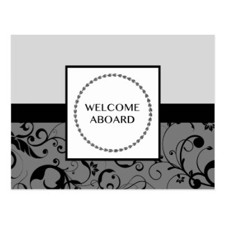 welcome aboard (damask) postcard