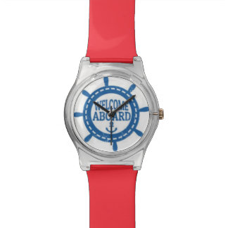 Welcome Aboard Nautical Blue Captain's Wheel Watch