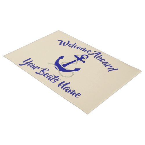 Welcome aboard nautical boats name anchor doormat