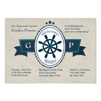 "Welcome Aboard Nautical Invitation 5"" X 7"" Invitation Card"