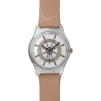 Welcome Aboard Nautical Tan Captain's Wheel Watch