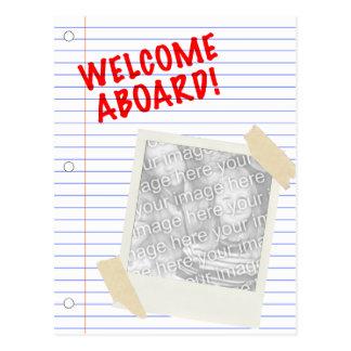 welcome aboard! polaroid postcard