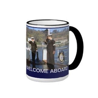 Welcome aboard ringer coffee mug