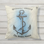 "Welcome Aboard with Personalized Boats Name - Throw Pillow<br><div class=""desc"">Welcome aboard with the boats own custom name at the bottom in black fonts,  nautical design old boat anchor in beige and blue colors. Back is light blue. Just use the &quot;personalize this template&quot; feature on the right of the page to change.</div>"