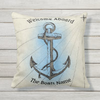 Welcome Aboard with Personalized Boats Name - Throw Pillow