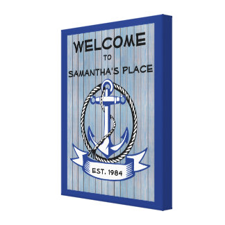 Welcome Anchor on Blue Stained Planks Canvas Print