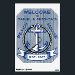 """Welcome Anchor on Blue Stained Planks Sign Wall Sticker<br><div class=""""desc"""">Anchor in blue surrounded by a rope circle with ribbon below containing customizable text set on a background of blue stained weather worn wood planks.</div>"""