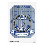 Welcome Anchor on Blue Stained Planks Sign Wall Sticker