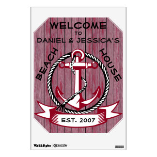 Welcome Anchor on Burgundy Stained Planks Sign Wall Sticker