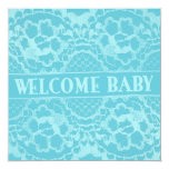 """Welcome and Lace New Baby Announcement 5.25"""" Square Invitation Card"""