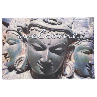 """Welcome"" Antique Asian Stone Faces Statue Photo Doormat"