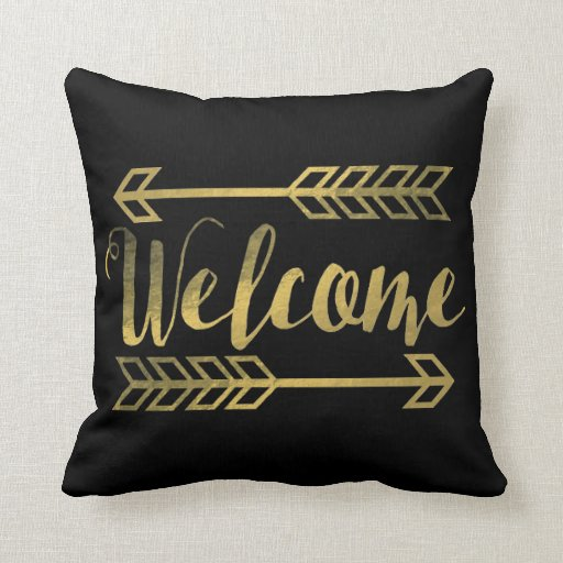 Welcome Arrow Gold Foil Throw Pillow Zazzle