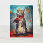 Welcome Autumn Cat Greeting Card (Visit shop to see more cute meaningful cards)