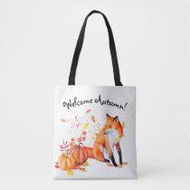 Welcome Autumn Fox Tote Bag