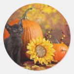 Welcome Autumn Lykoi Kitten Classic Round Sticker