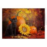 Welcome Autumn Werewolf Kitten Card