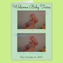 Welcome Babies Boy Girl Twins Birth Stats Card