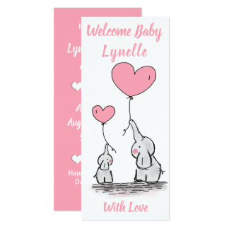 Welcome Baby Announcement - Baby Elephants-Hearts