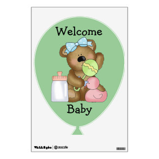 Welcome Baby- Baby Bottle, Duck and Rattle. Wall Decal
