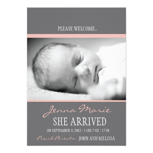 'Welcome Baby' Birth Announcement