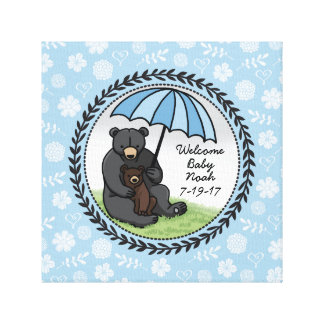 Welcome Baby Boy Mama Bear and Cub Personalized Canvas Print