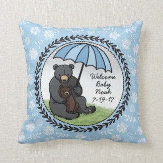 Welcome Baby Boy Mama Bear and Cub Personalized Throw Pillow