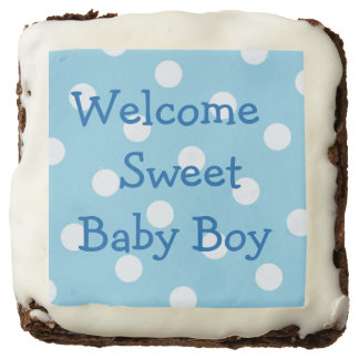 Welcome Baby Boy Personalized Brownies