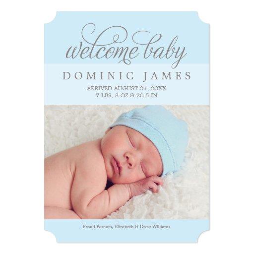 Welcome Baby Boy   Photo Birth Announcement   Zazzle