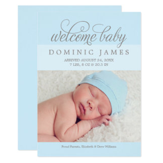Welcome Baby Boy | Photo Birth Announcement Card