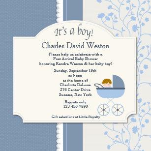 Welcome baby invitations zazzle welcome baby boy shower invitation filmwisefo