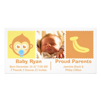 Welcome Baby Boy with Monkey Birth Announcement Photo Card Template