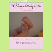 Welcome Baby Girl Birth Stats Photo Card