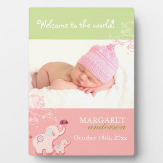 Welcome Baby Girl: Cute Pink Elephant Photo Plaque