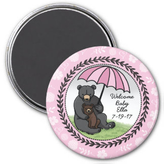 Welcome Baby Girl Mama Bear and Cub Personalized 3 Inch Round Magnet