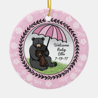 Welcome Baby Girl Mama Bear and Cub Personalized Ceramic Ornament